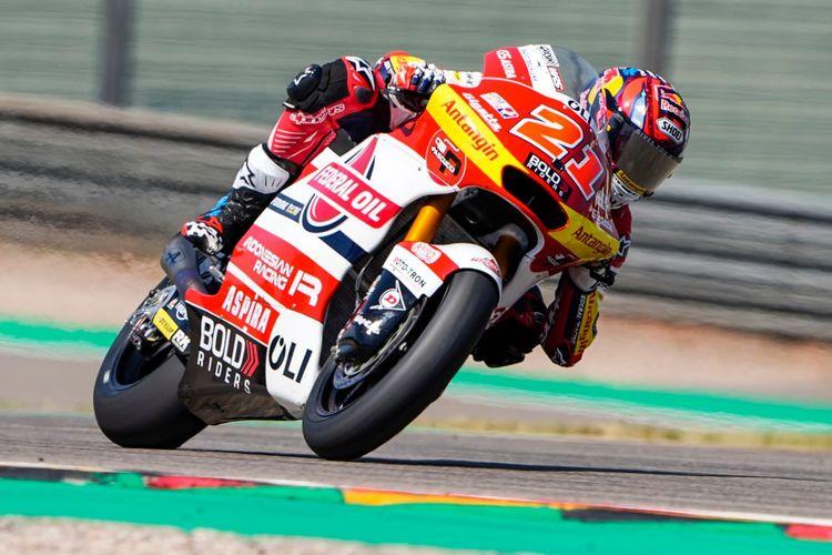 Fabio Di Giannantonio, pebalap Federal Oil Gresini Moto2 (FOGM2), saat balapan pada Moto2 Jerman 2021