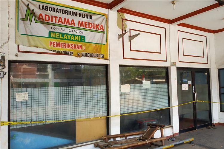 Klinik Aditama Medika di Tambun Selatan, Kabupaten Bekasi yang digrebek polisi lantsran diduga melakukan praktik aborsi ilegal.
