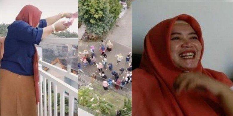 Mutoharoh, wanita yang viral bagi-bagi Rp 100 juta dari balkon rumahnya