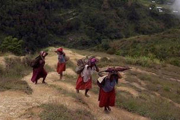 Perempuan menggunakan noken (tas khas Papua) mambawa beban berat melewati bukit terjal di Distrik Kurima, Kabupaten Yahukimo, Papua, Kamis (3/5/2012). Tas khas Papua yang terbuat dari rajutan kulit kayu diusulkan untuk menjadi warisan budaya dunia ke UNESCO.