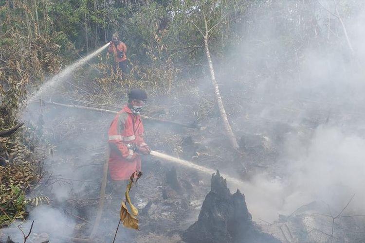 Petugas Manggala Agni memadamkan api karhutla di Kecamatan Dayun, Kabupaten Siak, Riau, Senin (5/8/2019).