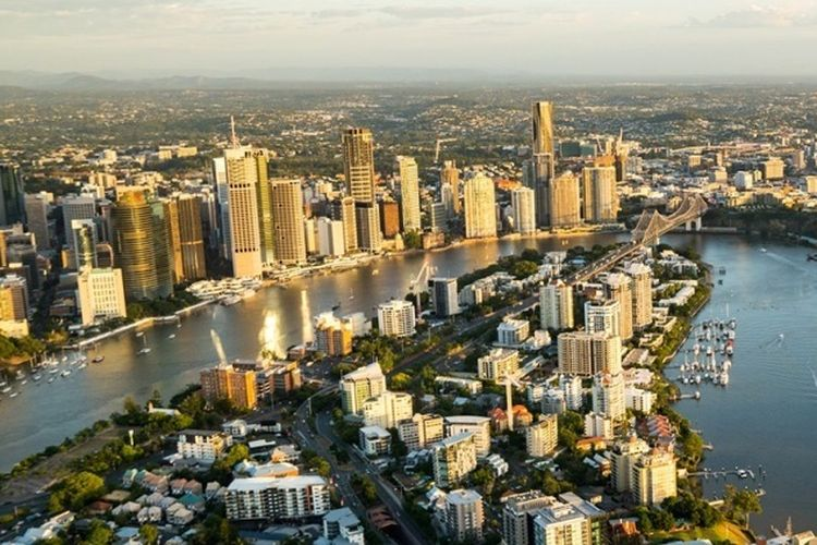 Lanskap ibu kota negara bagian Quensland, Brisbane, yang akan menjadi tuan rumah Olympiade tahun 2032 mendatang.