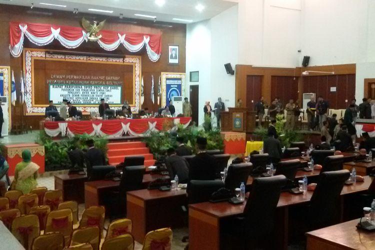 Suasana sidang paripurna PAW anggota DPRD Kepulauan Bangka Belitung korban Lion Air JT 610, Senin (25/3/2019).