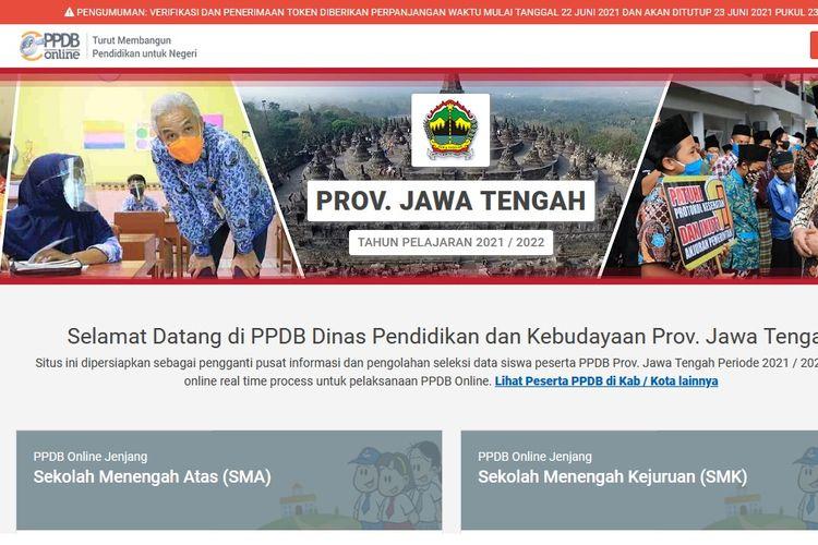 Laman PPDB Jawa Tengah tahun ajaran 2021/2022.