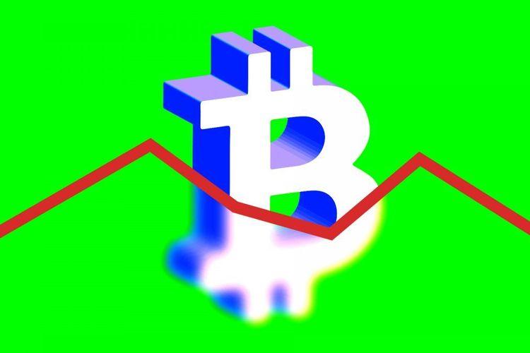 Ilustrasi naik turun Bitcoin.