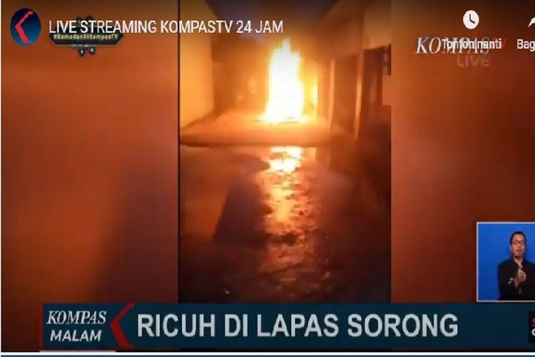 Kerusuhan terjadi di Lapas Klas II B Sorong, Papua Barat, Rabu (22/4/2020) malam.