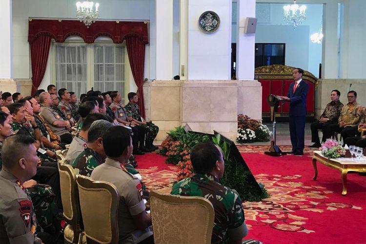 Presiden Joko Widodo, Selasa (29/1/2019) pagi, saat membuka Rapim TNI-Polri 2019 di Istana Negara, Jakarta.