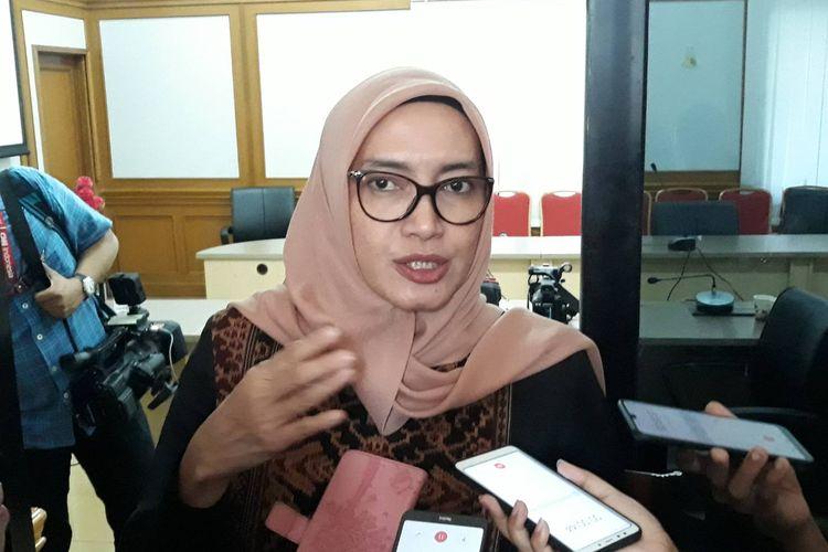 Komisioner KPU RI Evi Novida Ginting Manik di Kntor KPU, Jakarta Pusat, Selasa (18/2/2020).