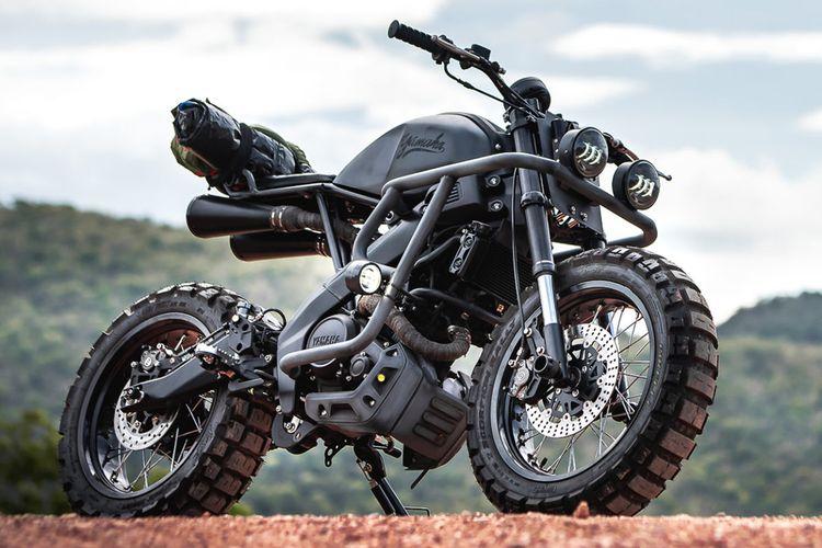 Motor custom Yamaha XSR155 bergaya scrambler garapan K-Speed