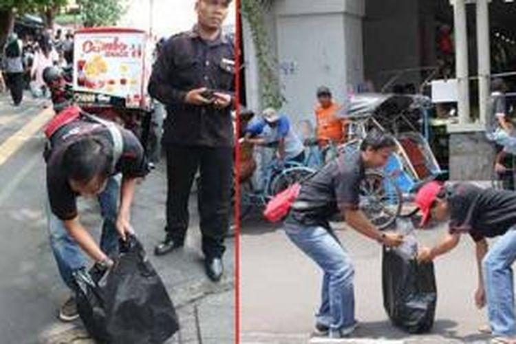 Komunitas Toyota Etios Valco Club Indonesia (TEVCI) bersih-bersih kawasan Malioboro, Yogyakarta.