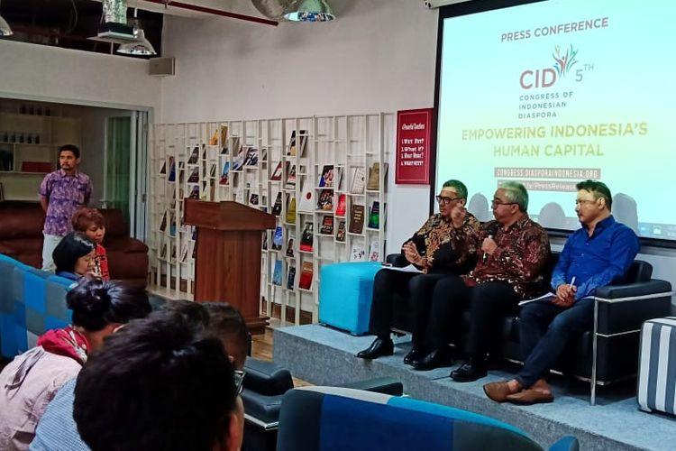 Konferensi pers (5/8/2019) terkait rencana IDN Global menggelar ?The Fifth Congress of Indonesian Diaspora? (CID-5) akan pada 10-13 Agustus 2019 di Jakarta.