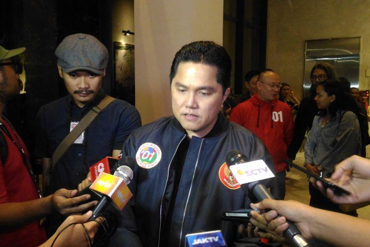 Ketua TKN Erick Thohir di kawasan Senopati, Jakarta Selatan, Rabu (27/2/2019).