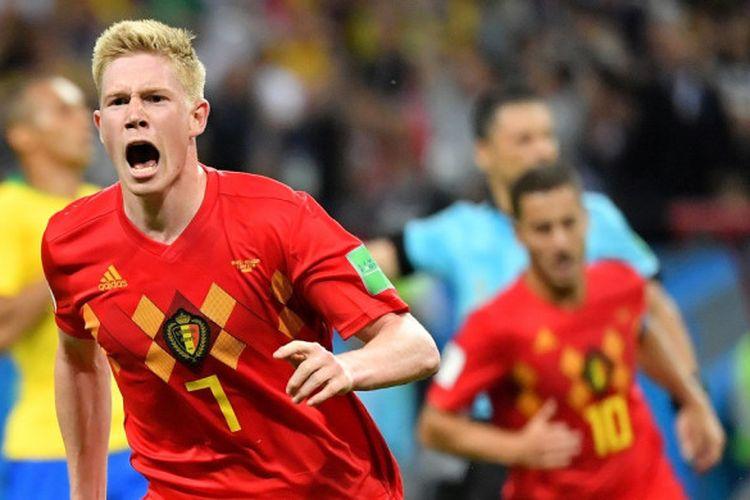 Gelandang Belgia, Kevin De Bruyne, merayakan gol yang dicetaknya dalam laga babak perempat final Piala Dunia 2018 melawan Brasil, 6 Juli 2018 di Kazan Arena.