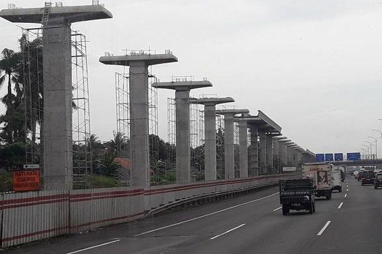Kondisi teraktual pembangunan LRT Jabodebek, foto diambil Kamis (9/2/2017).