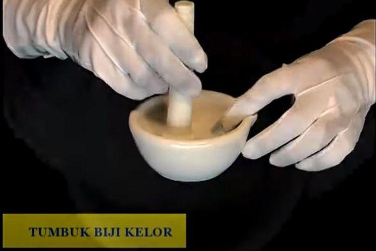 Langkah prosedur penjernihan air menggunakan biji kelor, masukkan biji kelor yang telah dibersihkan ke mortar, tumbuk sampai halus