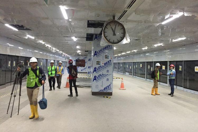 Kondisi Stasiun MRT Senayan pada Kamis (18/10/2018).