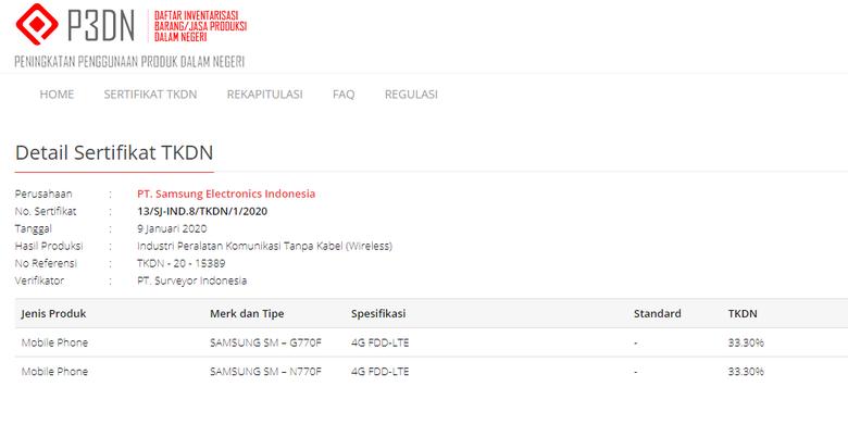 Tangkapan layar sertifikasi Galaxy S10 Lite dan Galaxy Note 10 Lite di laman TKDN Kementerian Perindustrian.