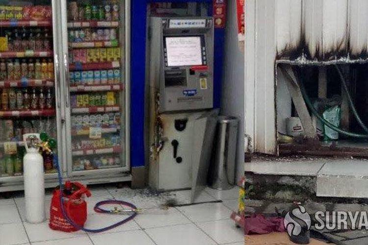 ATM yang dibobol SS di sebuah minimarket di Jalan Trosobo, Taman, Sidoarjo.
