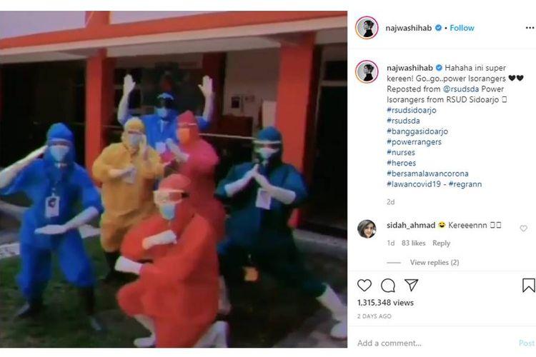 Tangkapan layar vdeo viral beberapa tenaga medis RSUD Sidoarjo memarodikan film Power Rangers.