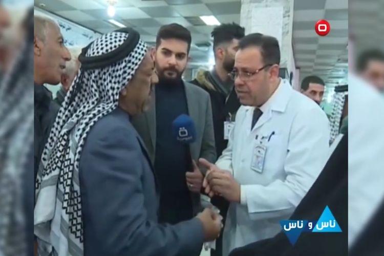 Potongan rekaman video dari televisi Irak, Al Sumaria TV, yang dipublikasikan The Independent menunjukkan seorang pria mengeluh kepada dokter. Pria tersebut diketahui meninggal saat siaran langsung ketika mengeluh tentang kehidupannya.