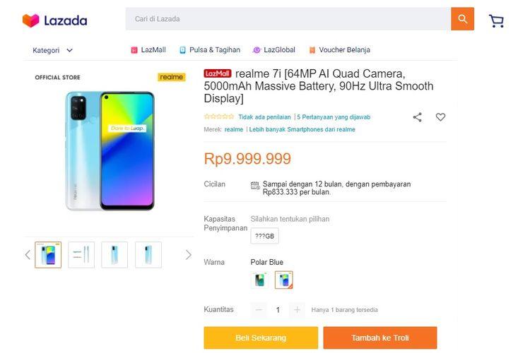 Realme 7i mejeng di situs E-commerce Lazada