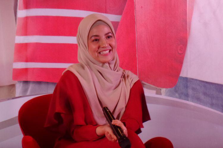 Artis peran Natasha Rizky pada peluncuran SGM Ekplor Advance+ Soya di kawasan Cikini, Jakarta Pusat, Rabu (28/8/2019).