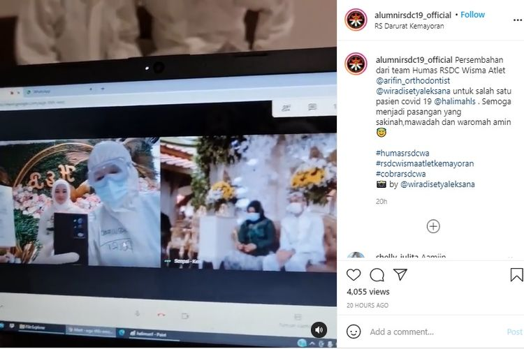 Relawan tenaga medis di Rumah Sakit Darurat Covid-19 (RSDC) Wisma Atlet Kemayoran, Halimah Lelawati Suparya, menikah secara virtual di RSDC Wisma Atlet karena dinyatakan positif Covid-19