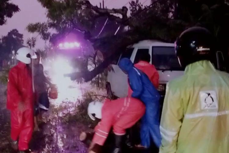 TIMPA—Sebuah pohon besar tumbang menimpa mobil L300 yang melintas di ruas jalan Madiun-Ponorogo di Desa Purworejo, Kecamatan Geger, Kabupaten Madiun setelah hujan deras mengguyur wilayah tersebut.