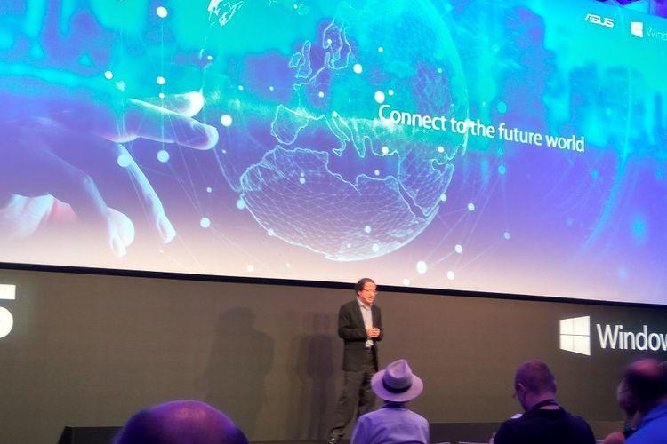 Vice President Asus, Eric Chen dalam peluncuran sejumlah produk laptop dan perangkat gaming di Berlin Jerman, Rabu (30/8/2017).