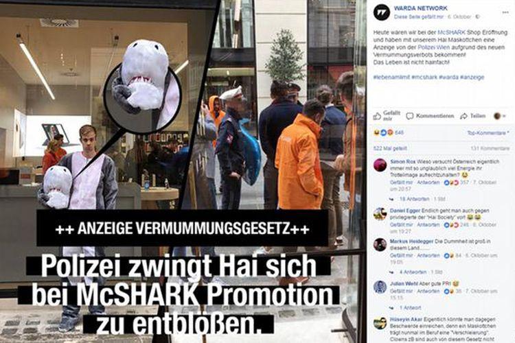 Polisi Austria menjatuhkan sanksi berupa denda kepada seorang pria yang menggunakan kostum hiu. Dia dikenai ketentuan Undang-undang anti-burka.
