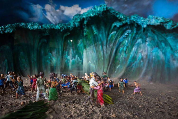 Diorama Tsunami Aceh di Museum Tsunami Aceh.