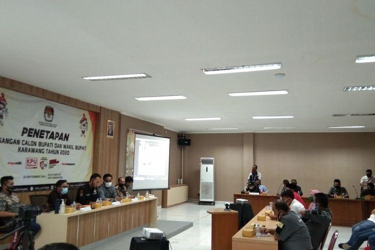 Komisi Pemilihan Umum (KPU) Karawang menetapkan tiga pasang calon pada pemilihan Bupati dan Wakil Bupati Karawang 2020, Rabu (23/9/2020).