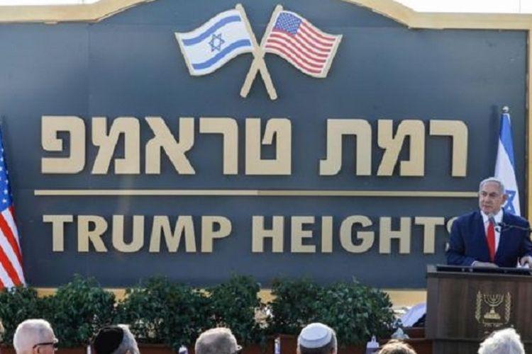 Perdana Menteri Israel Benjamin Netanyahu ketika meresmikan nama permukiman baru Dataran Tinggi Trump di Golan sebagai penghormatan terhadap Presiden Amerika Serikat Donald Trump pada Minggu (16/6/2019).
