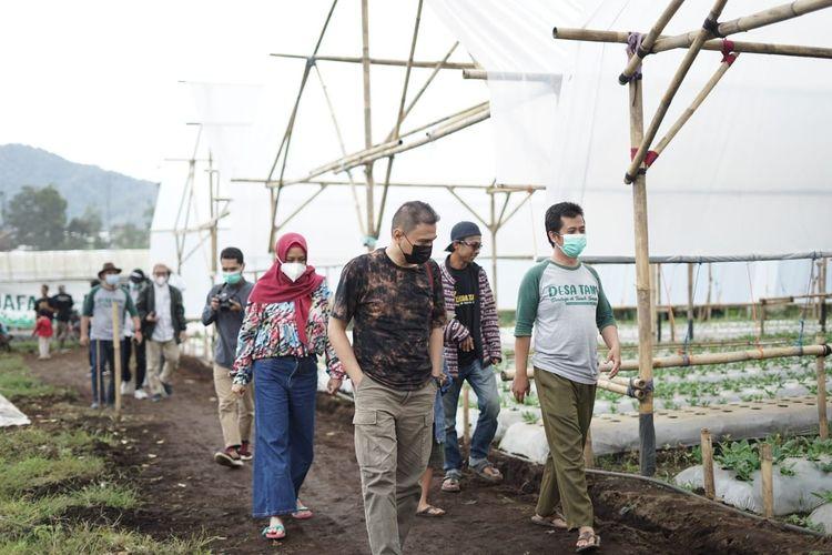 Tim Dompet Dhuafa Jawa Barat bersama mitra donatur, meninjau lahan pengembangan zakat produktif Desa Tani Green House Cibodas, Jawa Barat.