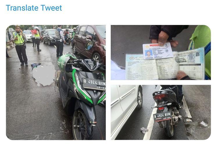 Pengemudi ojek online tewas tertabrak bus transjakarta di Kebon Jeruk, Jakarta Barat, Selasa (4/2/2020)