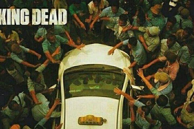 Foto unjuk rasa ini mirip dengan adegan ala film The Walking Dead