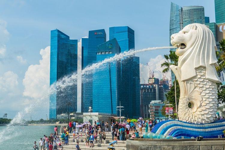 Ilustrasi patung Merlion yang ikonik di Singapura.