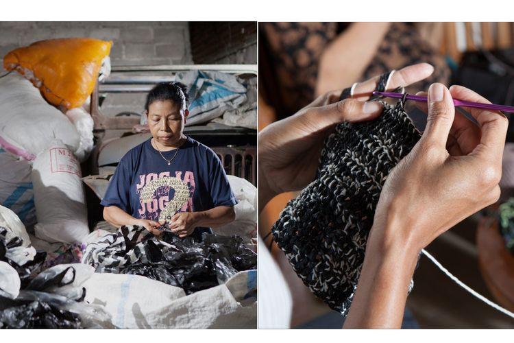 Proses pembuatan tas merek Kreskros yang menggunakan daur ulang limbah plastik.