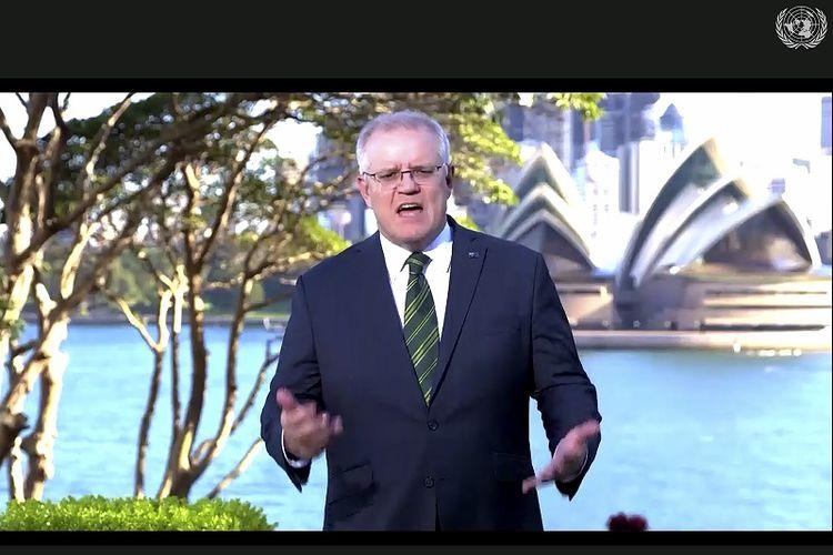 Dalam foto yang dibuat dari video UNTV ini, Scott Morrison, Perdana Menteri Australia, berbicara dalam pesan yang telah direkam sebelumnya yang diputar selama sesi ke-75 Sidang Umum Perserikatan Bangsa-Bangsa, Jumat, 25 September 2020, di Markas Besar PBB