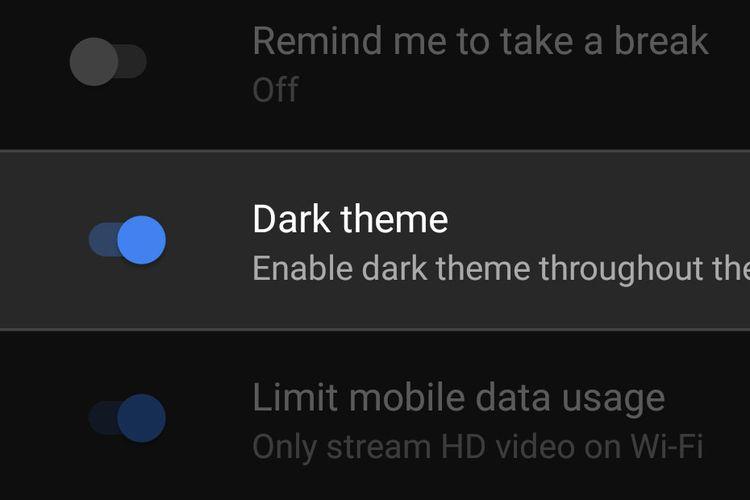 Mode gelap alias Dark theme di YouTube sudah bisa digunakan semua pengguna Android.