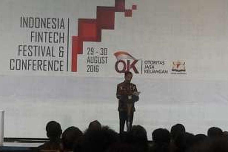 Preaiden Joko Widodo saat menghadiri Indonesia Fintech Festival and Conference di ICE, Serpong, Tangerang, Selasa (30/8/2016).