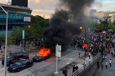 Rusuh Kematian George Floyd, Kantor CNN Dirusak Massa, Mobil Polisi Dibakar
