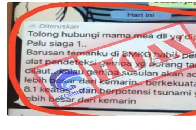 Salah satu berita hoaks yang beredar di masyarakat