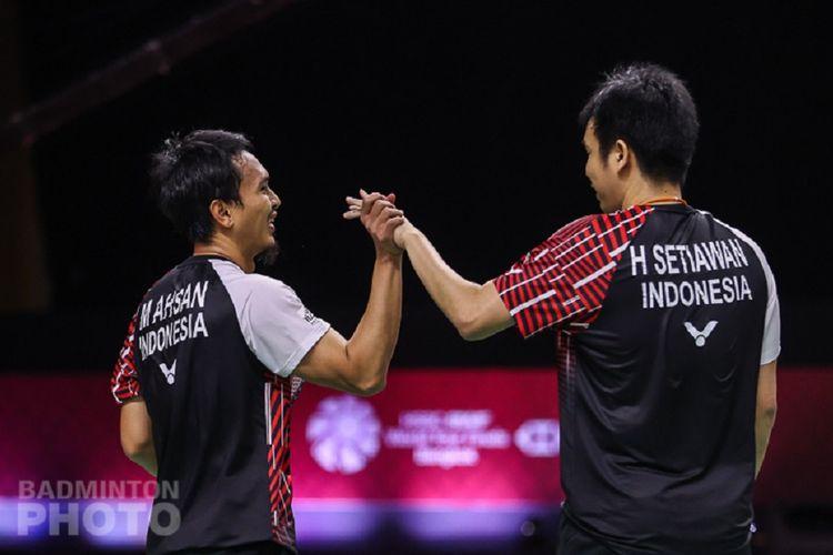 Pasangan ganda putra Indonesia, Mohammad Ahsan/Hendra Setiawan, pada turnamen BWF World Tour Finals 2021.