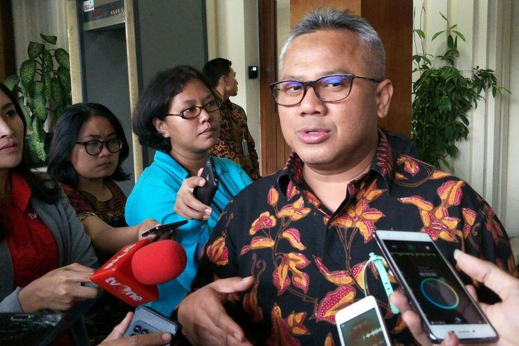 Ketua Komisi Pemilihan Umum (KPU) RI Arief Budiman ketika ditemui di Kantor Kemenko Polhukam, Jakarta, Kamis (5/7/2018).