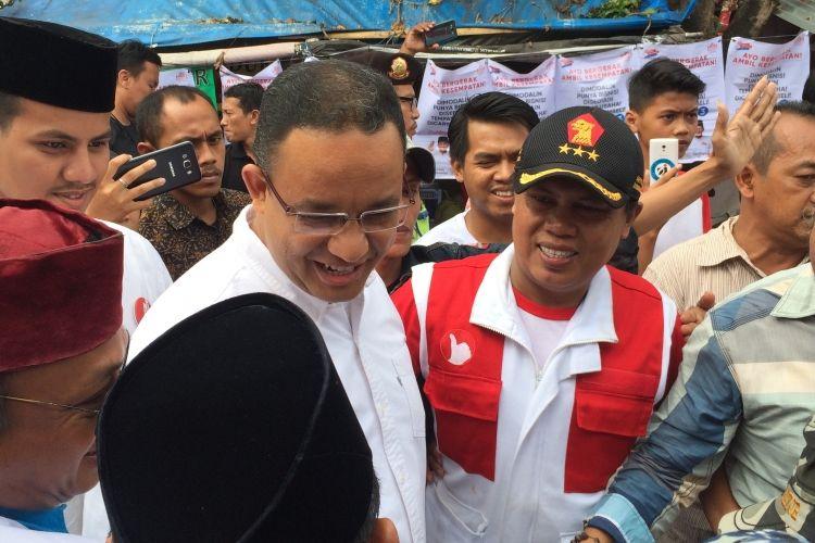 Cagub DKI Jakarta, Anies Baswedan di Duri Kosambi, Jakarta Barat, Selasa (14/3/2017).