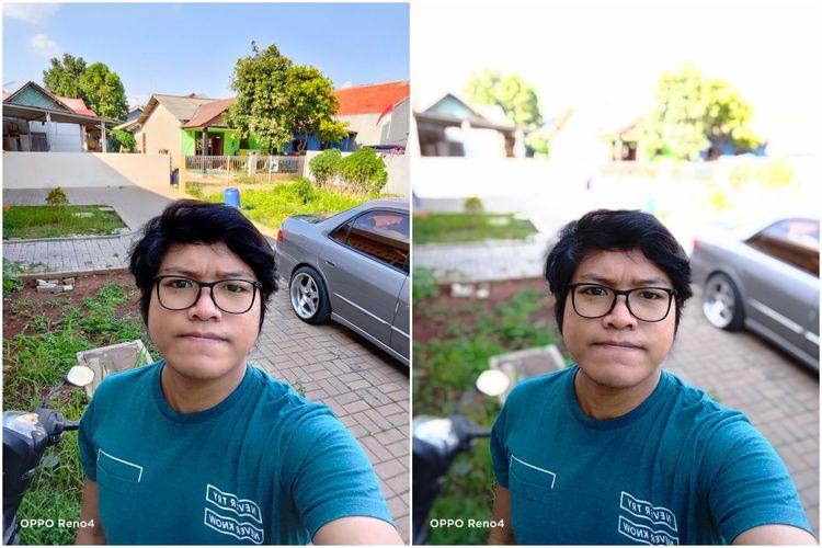 Hasil foto kamera selfie 32 MP Reno 4. Ponsel ini tampak bisa menghasilkan foto selfie, baik normal (kiri) maupun dengan efek bokeh (kanan) dengan detail cukup baik dan rapi.