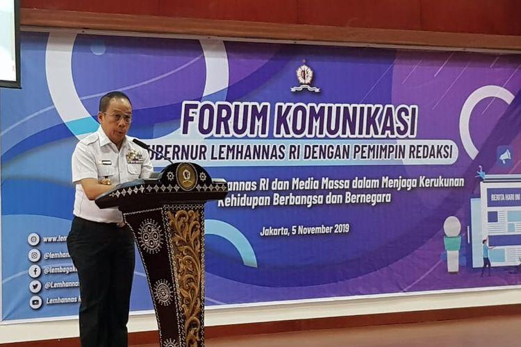 Gubernur Lemhanas RI Agus Widjojo saat memberikan sambutan di Gedung Lemhanas, Kebon Sirih, Jakarta Pusat, Selasa (5/11/2019).