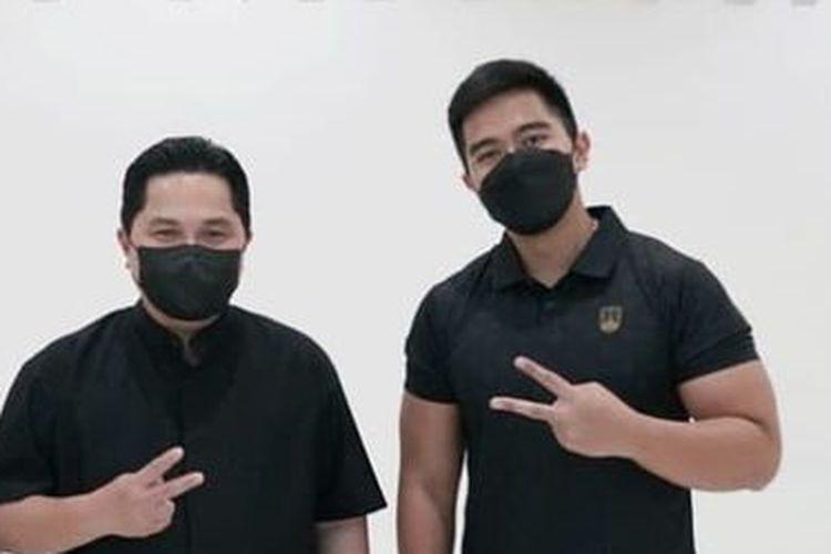 Erick Thohir beri kejutan untuk Kaesang Pangarep.
