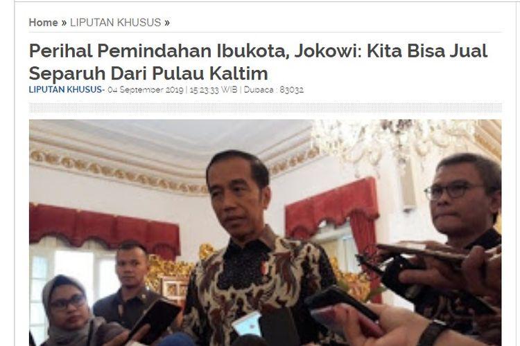 Tangkapan layar artikel berjudul Perihal Pemindahan Ibukota, Jokowi: Kita Bisa Jual Separuh Dari Pulau Kaltim yang diunggah di situs reportaseindonesia.com pada 4 September 2019.